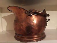 Copper Antique Victorian hammered helmet coal scuttle / bucket.