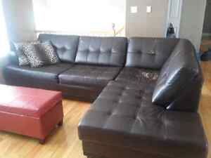 Dark brown sectional sofa