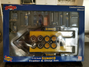 1:18 Diecast GMP Sunoco Trailer and Shop Set with Rims