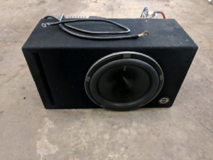 Car audio subwoofer, enclosure, amplifier, cap