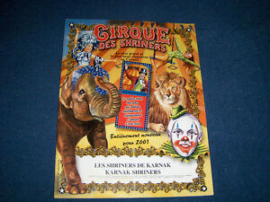 CIRQUE DES SHRINERS CIRCUS-VINTAGE 2001 SOUVENIR PROGRAM