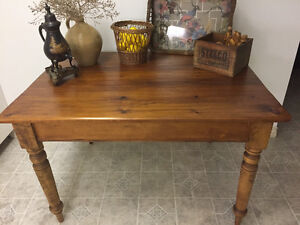 Antique Harvest Table and Four Chairs