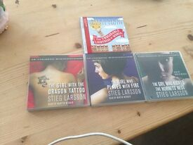Assortment of audio books including the girl with the Dagon tattoo trilogy
