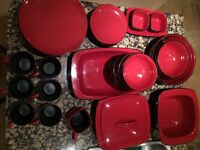 Full set of dishes! Red. $100 or best offer!