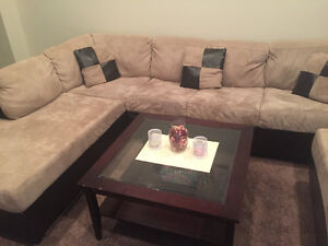 L-shape sectional Couch w/ Ottoman +coffee table