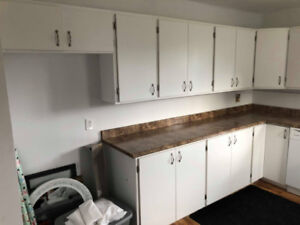 Full Kitchen - Cabinets and Counter - White modern style