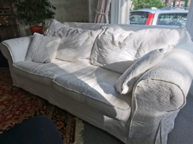 Fenwick white feather filled sofa. Washable covers.