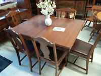 Antique Solid Wood Dining Set with 6 Chairs