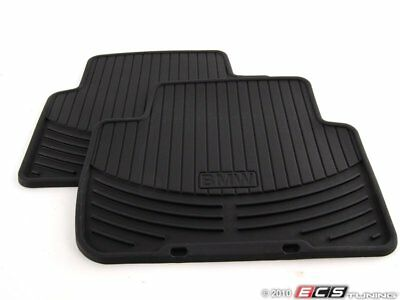 Genuine BMW   Rear All Weather Rubber Floor Mat Set   Black   82550136373