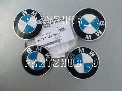 "4 Genuine BMW Wheel Center Cap Emblems OEM# 36131181080 65 mm 2.5"" Adhesive DIY"