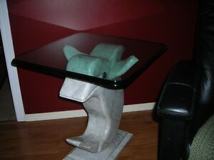 Glass Topped Dolphin Tables