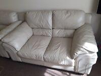Cream leather sofa set quick sale