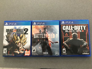 PS4- 3 games for sale (BF1,DBZ,BOIII)
