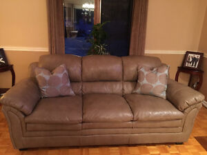 Taupe leather sofa /couch