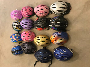 Variety of bike helmets - infant to adult