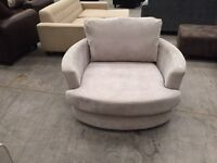 Large grey swivel chair love seat armchair sofa