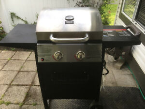 Small two burner bbq with cover and tools