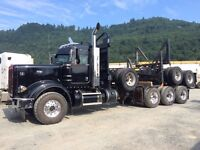 7 axle long log truck for hire