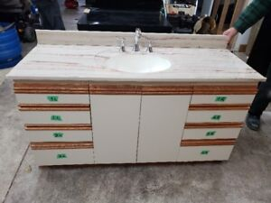 Vanity with cultured marble top/sink