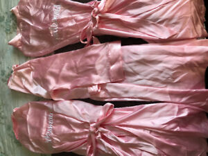 3 Pink silk  bridesmaid house coats. Great for photoshoots!