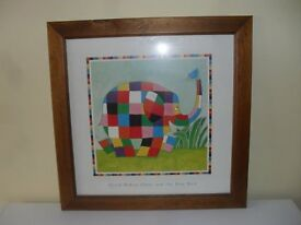 Wooden Framed Picture of Elmer the elephant