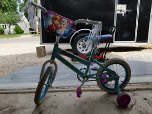 "New Disney Frozen Bike Ages 2-5 20"" with trainging wheels."