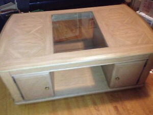 vintage coffee table - solid wood- on whiles