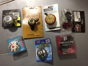 Various NEW bike items: bells, reflector, Turtle clamp mount