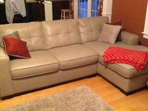 Left handed Beige Leather Sectional