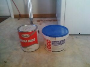 white ceiling paint, and crack fill tub, 9 tubes of caulking