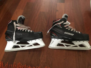 Goalie skates, trapper, and chest protector