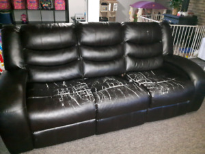 3 piece reclining bonded leather set