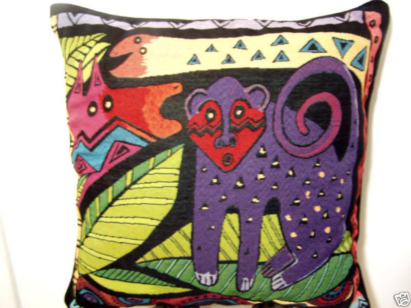 Laurel Burch Friends Amazonie Jungle Safari Decorative Tapestry Throw Pillow NWT