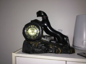 Vintage Mid Century Gibraltar Black Panther Electric Clock