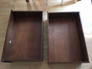 Two wooden storage boxes on wheels - under-bed storage