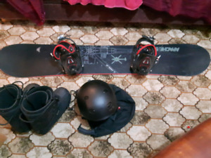 Snow board boots and helmet