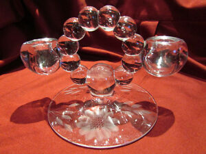 Pair of Vintage CORNFLOWER Etched CRYSTAL Candlestick Holders Kitchener / Waterloo Kitchener Area image 3