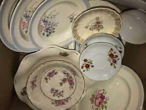 3xboxes of collected bowls, cups , tea pots and plates