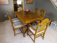 Antique Solid Golden Oak Table, Chairs & Sideboard  $1,400.