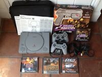 PLAY STATION 1 CONSOLE + TIME CRISIS GAME/GUN & 3 Games