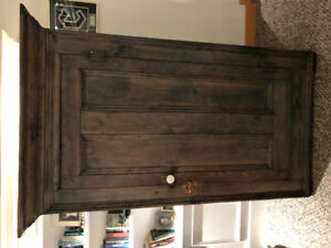 Antique Stained Basswood Armoire
