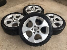 "GENUINE VW 17"" MONZA GOLF GTi BBS ALLOYS w/TYRES - CADDY TOURAN - 225/45/17 - 7mm - SLOUGH"