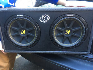 "2 12"" enclosed kicker subs with pioneer 4-channel amplifier"