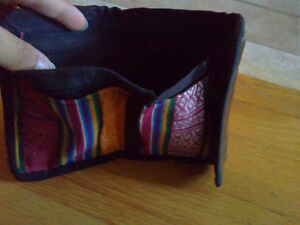 Women's fabric silk trifold wallet for sale London Ontario image 4