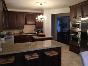 Beautiful solid Maple Kitchen with Italian granite counter top.