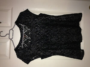 Beautiful Black top with Silver embossing
