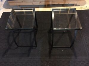 Glass End Tables x2