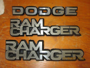 DODGE RAMCHARGER VINTAGE FENDER DECALS, ETC PACKAGE.