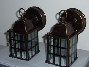 Twin pack outdoor Lanterns light fixtures new in box