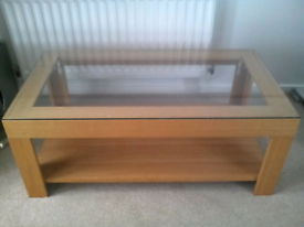 LIGHT OAK VENEER GLASS TOP COFFEE TABLE FOR SALE